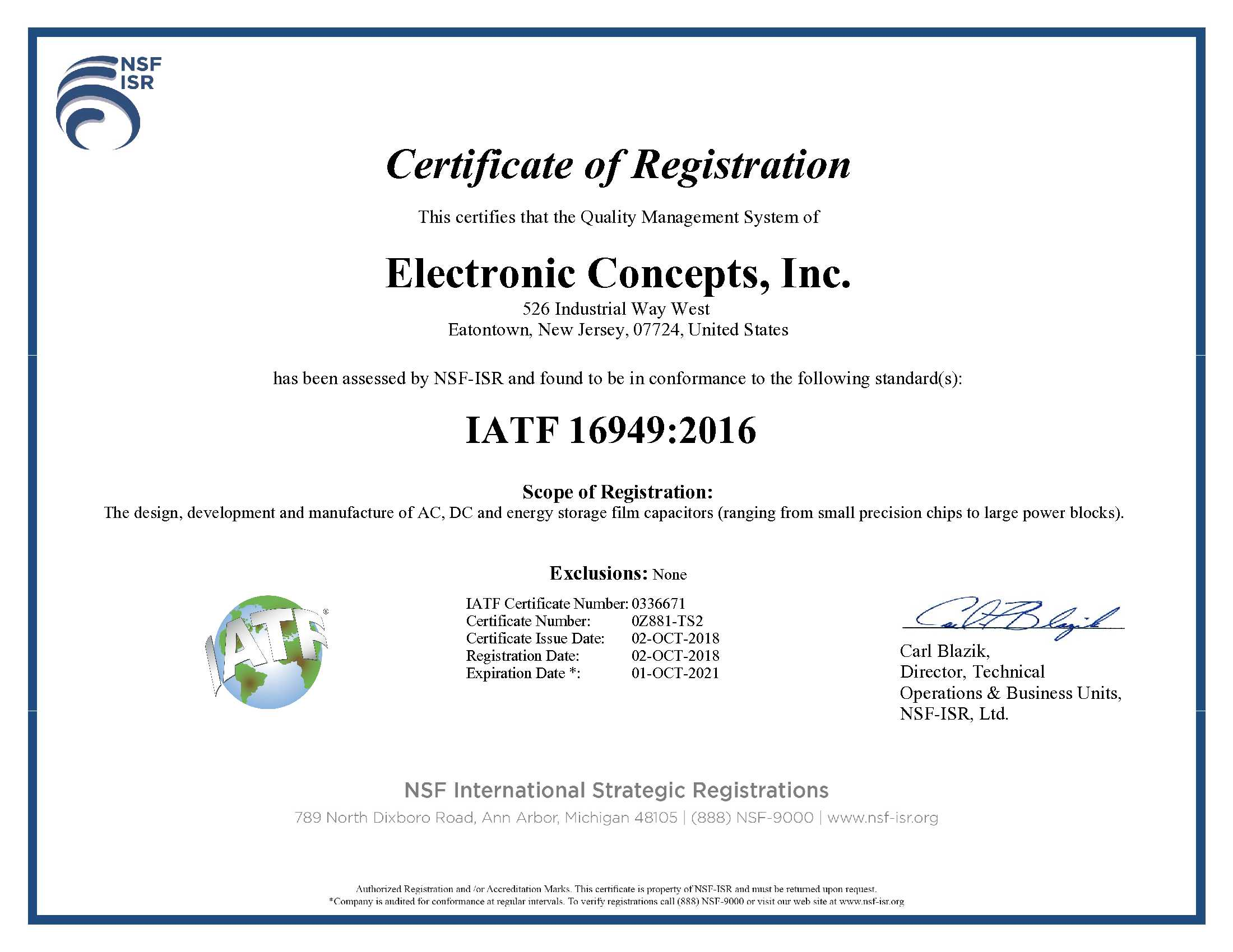 Electronic Concepts Inc TS-16949 CERTIFICATE Issued 1-09-2015