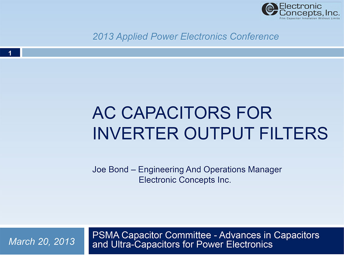 Ac Film Capacitors For Inverter Output Filters Power Factor