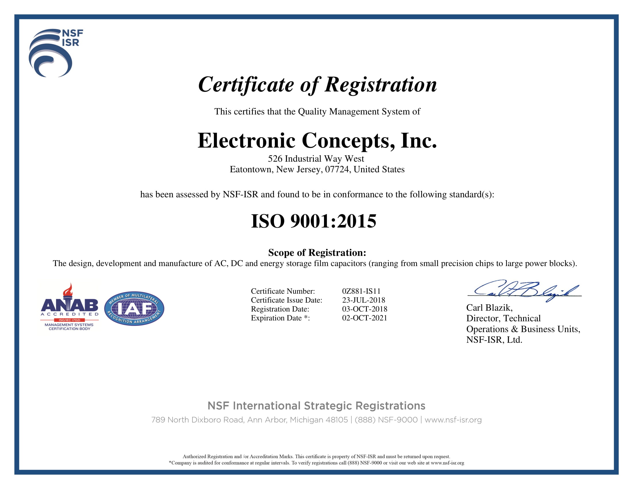 Electronic Concepts Iso Certification